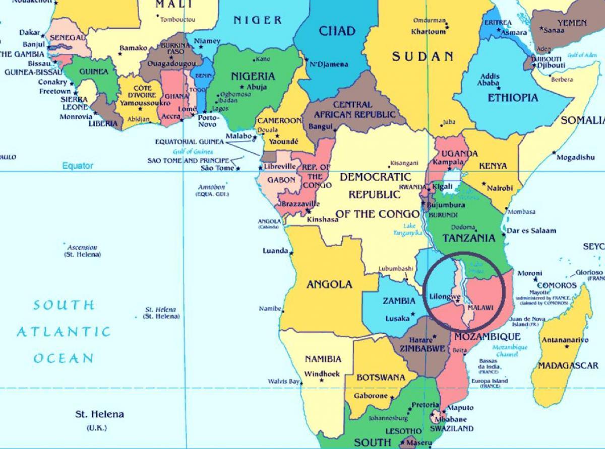 Malawi Maa Kartta Malawi Maa Maailman Kartta Ita Afrikka Ja